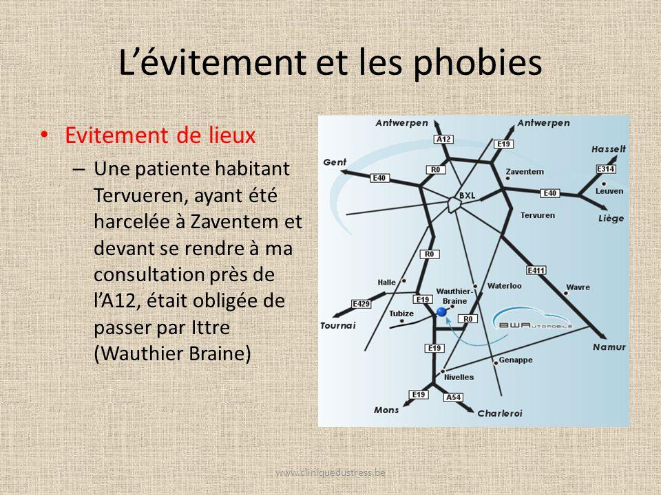 Lévitement et les phobies Evitement de lieux – Une patiente habitant Tervueren, ayant été harcelée à Zaventem et devant se rendre à ma consultation pr