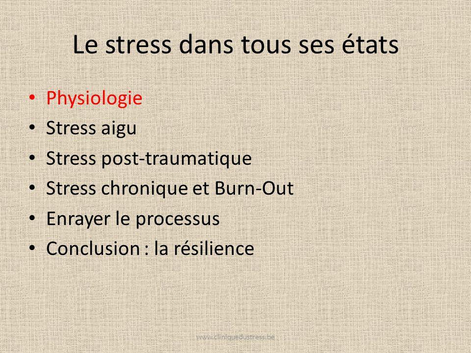Le stress dans tous ses états Physiologie Stress aigu Stress post-traumatique Stress chronique et Burn-Out Enrayer le processus Conclusion : la résili