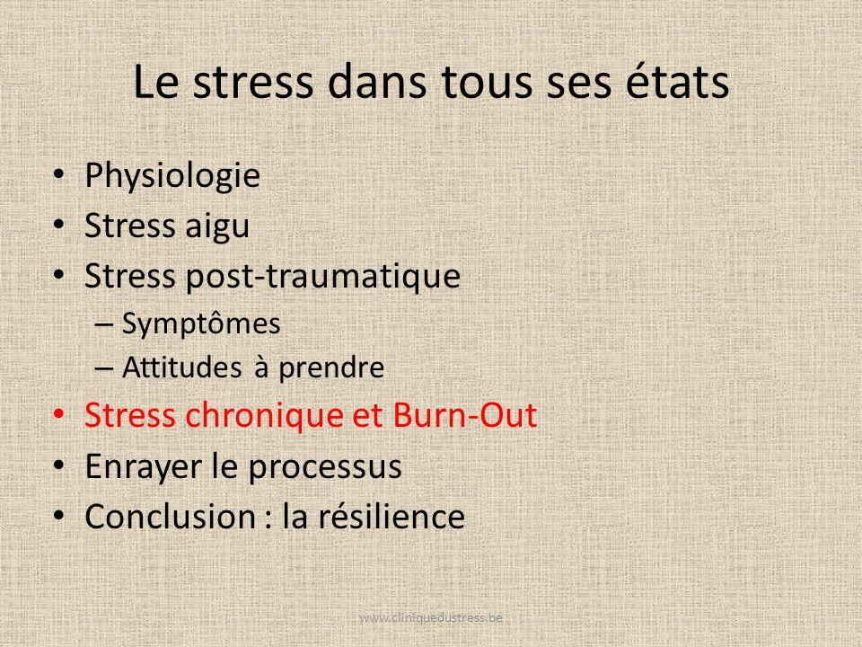 Le stress dans tous ses états Physiologie Stress aigu Stress post-traumatique – Symptômes – Attitudes à prendre Stress chronique et Burn-Out Enrayer l
