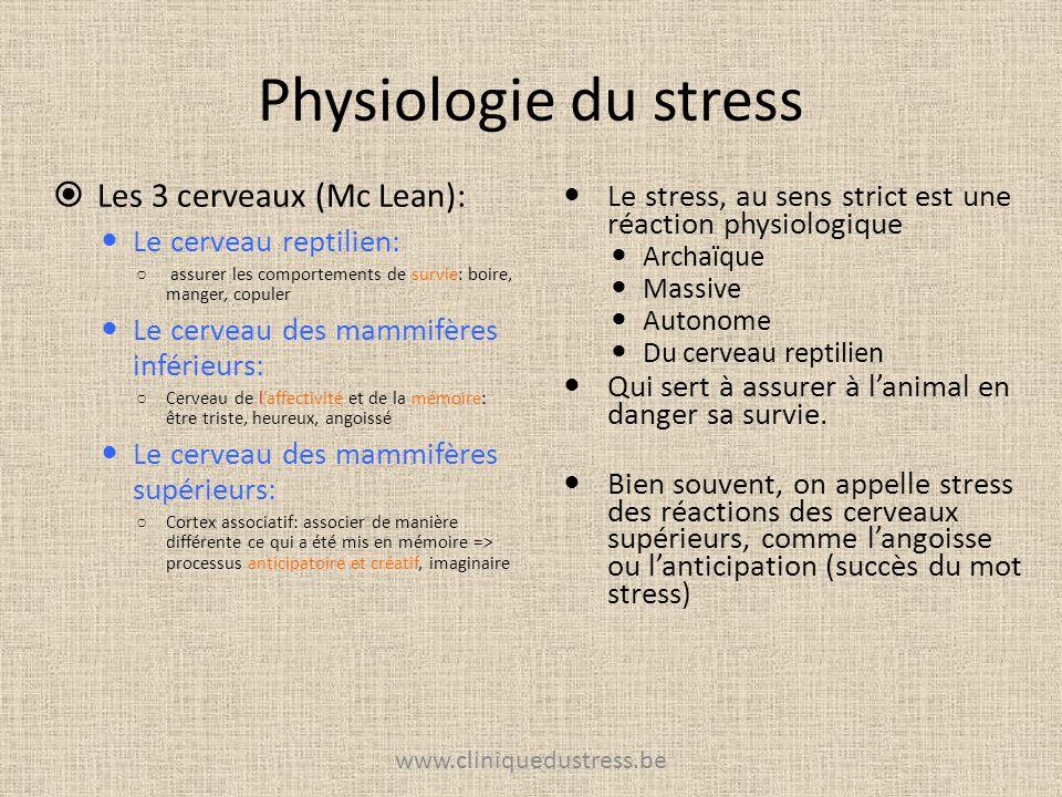 Physiologie du stress Le stress, au sens strict est une réaction physiologique Archaïque Massive Autonome Du cerveau reptilien Qui sert à assurer à la
