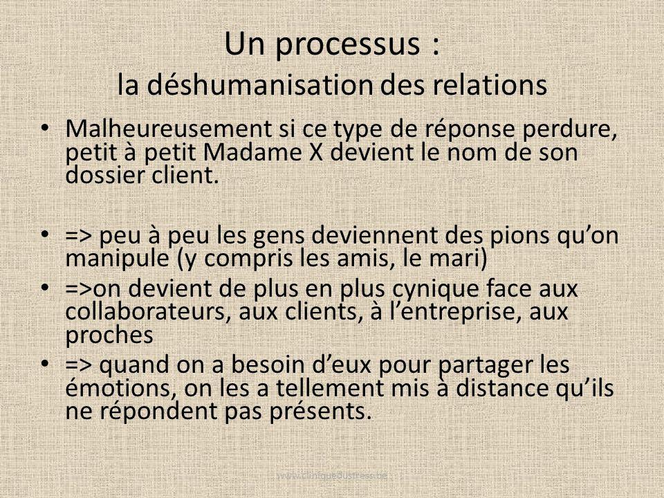 Un processus : la déshumanisation des relations Malheureusement si ce type de réponse perdure, petit à petit Madame X devient le nom de son dossier cl