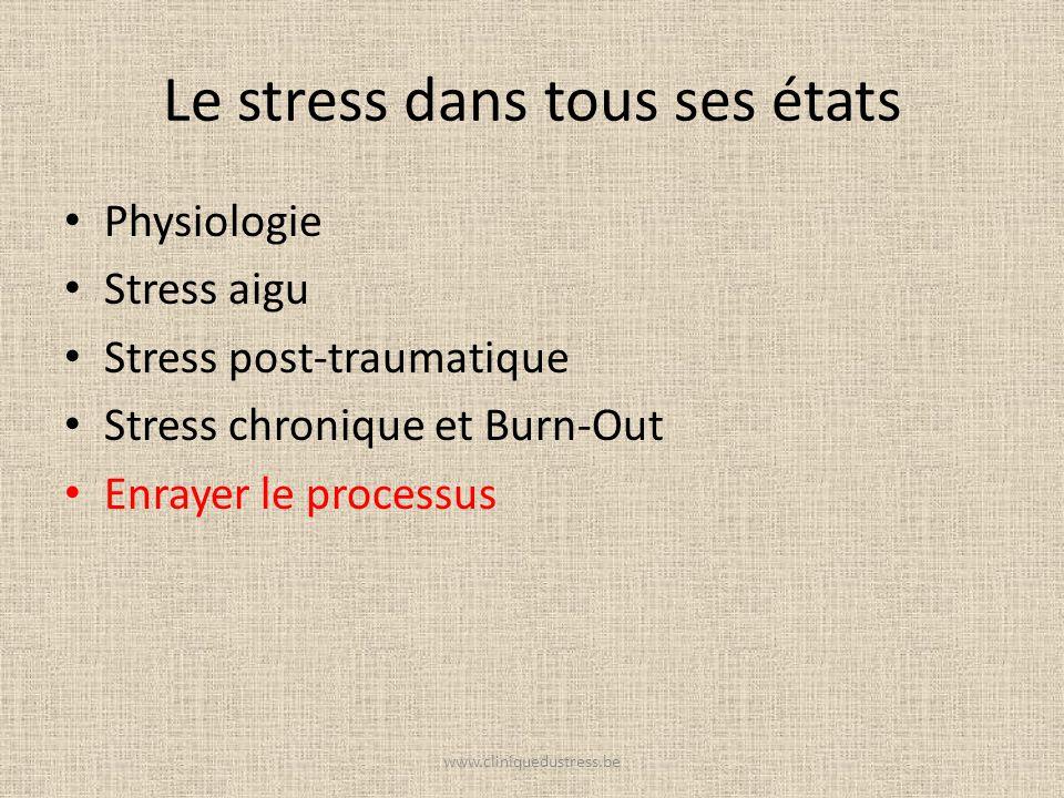 Le stress dans tous ses états Physiologie Stress aigu Stress post-traumatique Stress chronique et Burn-Out Enrayer le processus www.cliniquedustress.b