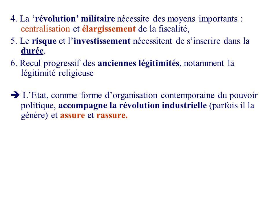 4. La révolution militaire nécessite des moyens importants : centralisation et élargissement de la fiscalité, 5. Le risque et linvestissement nécessit