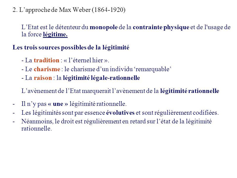 2. Lapproche de Max Weber (1864-1920) LEtat est le détenteur du monopole de la contrainte physique et de l'usage de la force légitime. Les trois sourc