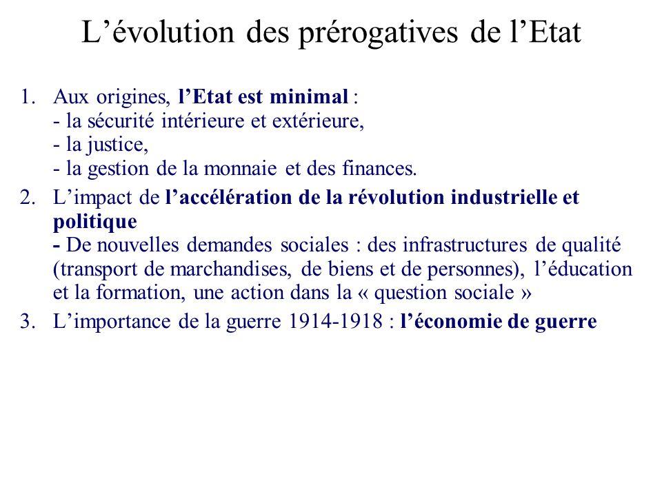 Lévolution des prérogatives de lEtat 1.Aux origines, lEtat est minimal : - la sécurité intérieure et extérieure, - la justice, - la gestion de la monn