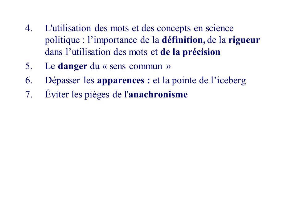 4.L'utilisation des mots et des concepts en science politique : limportance de la définition, de la rigueur dans lutilisation des mots et de la précis