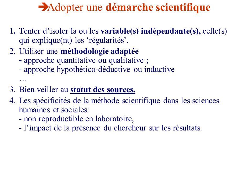Adopter une démarche scientifique 1. Tenter disoler la ou les variable(s) indépendante(s), celle(s) qui explique(nt) les régularités. 2.Utiliser une m