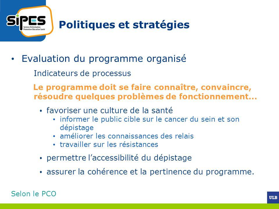 Politiques et stratégies Evaluation du programme organisé Indicateurs de processus Le programme doit se faire connaître, convaincre, résoudre quelques