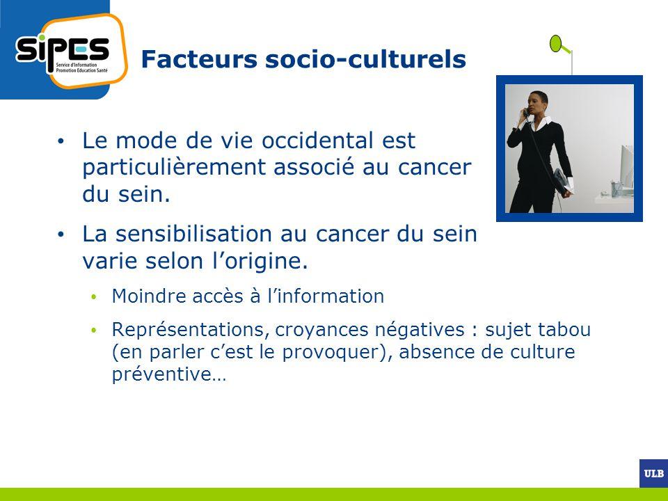 Facteurs socio-culturels Le mode de vie occidental est particulièrement associé au cancer du sein. La sensibilisation au cancer du sein varie selon lo