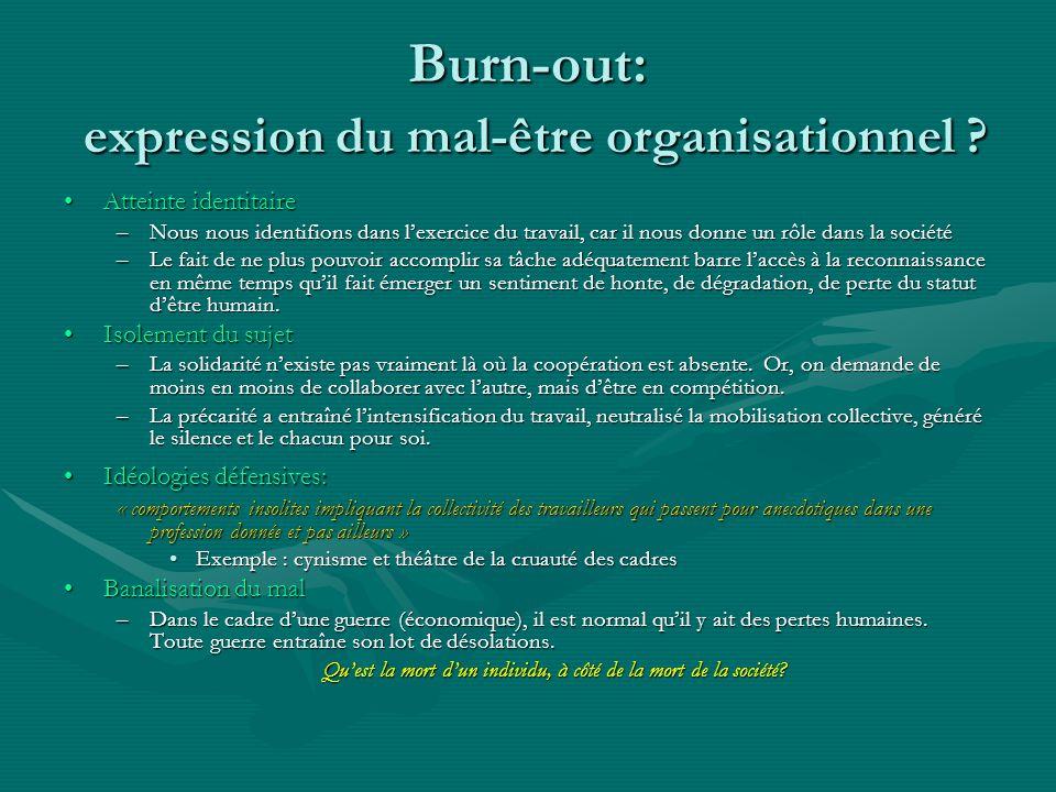 Burn-out: expression du mal-être organisationnel ? Atteinte identitaireAtteinte identitaire –Nous nous identifions dans lexercice du travail, car il n