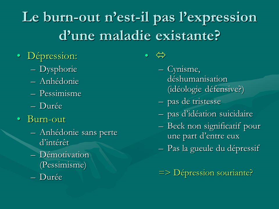Le burn-out nest-il pas lexpression dune maladie existante? Dépression:Dépression: –Dysphorie –Anhédonie –Pessimisme –Durée Burn-outBurn-out –Anhédoni