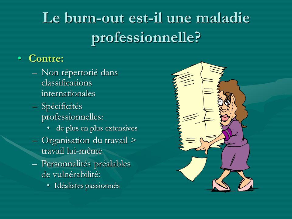 Le burn-out est-il une maladie professionnelle? Contre:Contre: –Non répertorié dans classifications internationales –Spécificités professionnelles: de