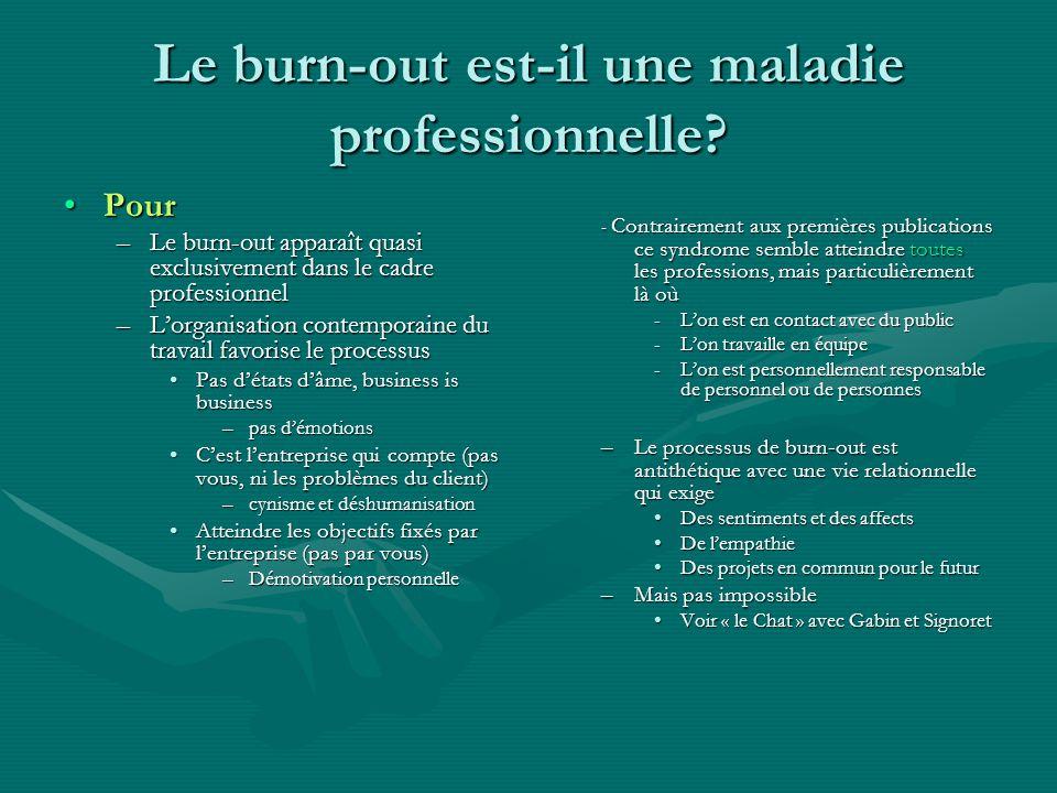 Le burn-out est-il une maladie professionnelle? PourPour –Le burn-out apparaît quasi exclusivement dans le cadre professionnel –Lorganisation contempo
