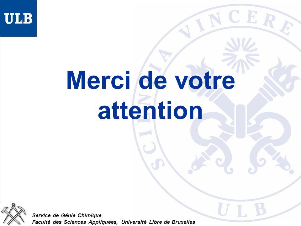 Service de Génie Chimique Faculté des Sciences Appliquées, Université Libre de Bruxelles Merci de votre attention