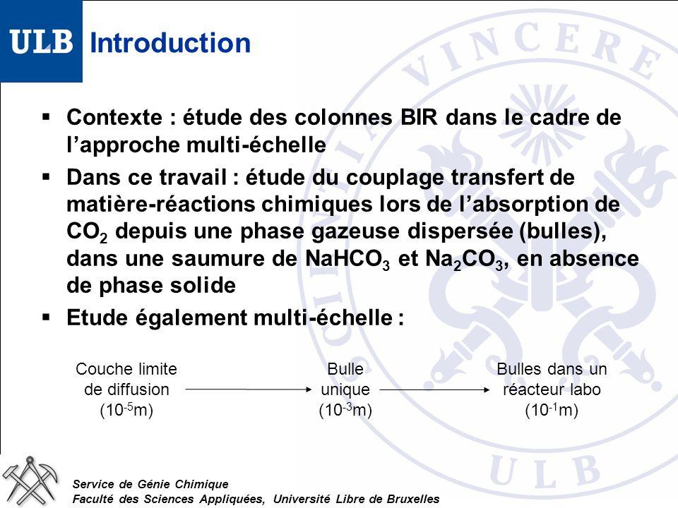 Service de Génie Chimique Faculté des Sciences Appliquées, Université Libre de Bruxelles Introduction Contexte : étude des colonnes BIR dans le cadre de lapproche multi-échelle Dans ce travail : étude du couplage transfert de matière-réactions chimiques lors de labsorption de CO 2 depuis une phase gazeuse dispersée (bulles), dans une saumure de NaHCO 3 et Na 2 CO 3, en absence de phase solide Etude également multi-échelle : Couche limite de diffusion (10 -5 m) Bulle unique (10 -3 m) Bulles dans un réacteur labo (10 -1 m)