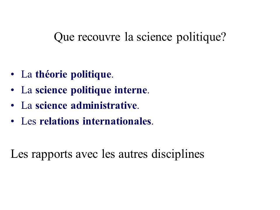 Que recouvre la science politique.La théorie politique.