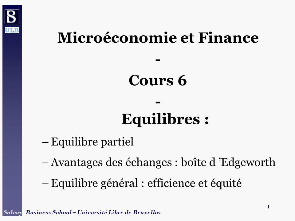 1 Solvay Business School – Université Libre de Bruxelles 1 Microéconomie et Finance - Cours 6 - Equilibres : –Equilibre partiel –Avantages des échange