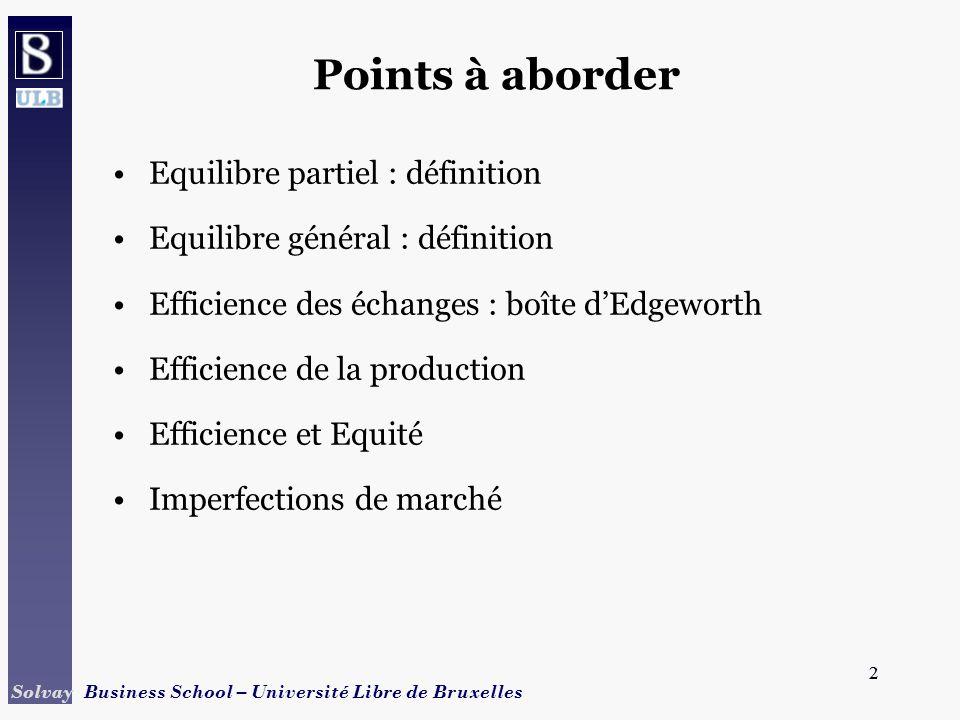2 Solvay Business School – Université Libre de Bruxelles 2 Points à aborder Equilibre partiel : définition Equilibre général : définition Efficience d
