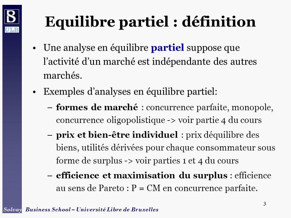 3 Solvay Business School – Université Libre de Bruxelles 3 Equilibre partiel : définition Une analyse en équilibre partiel suppose que lactivité dun m