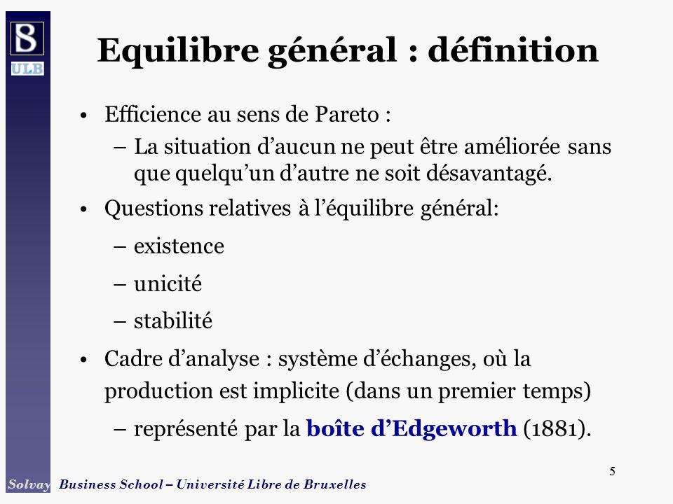 5 Solvay Business School – Université Libre de Bruxelles 5 Equilibre général : définition Efficience au sens de Pareto : –La situation daucun ne peut