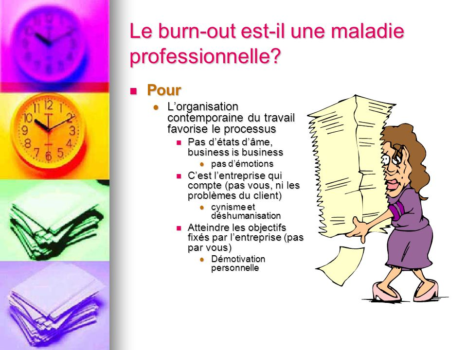 Diagnostics différentiels Stress pathologique Stress pathologique Dépression Dépression Bore-Out Bore-Out