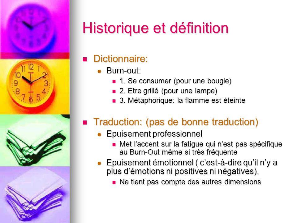 Historique et définition Dictionnaire: Dictionnaire: Burn-out: Burn-out: 1. Se consumer (pour une bougie) 1. Se consumer (pour une bougie) 2. Etre gri