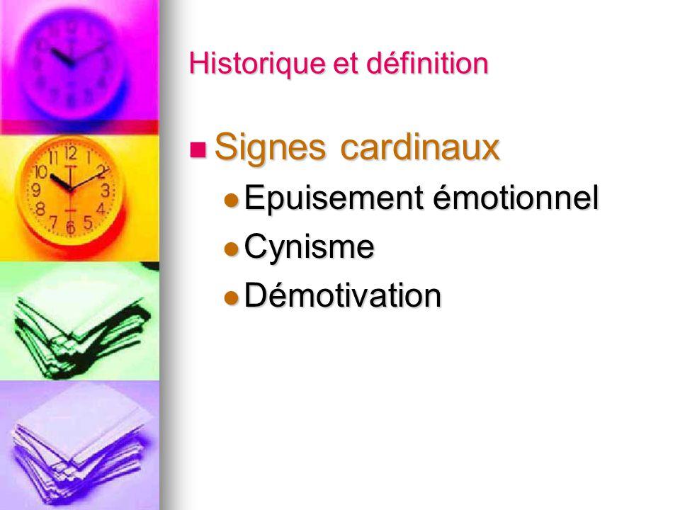 Historique et définition Signes cardinaux Signes cardinaux Epuisement émotionnel Epuisement émotionnel Cynisme Cynisme Démotivation Démotivation
