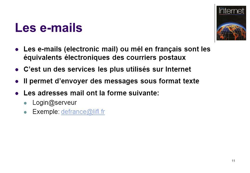 11 Les e-mails Les e-mails (electronic mail) ou mél en français sont les équivalents électroniques des courriers postaux Cest un des services les plus