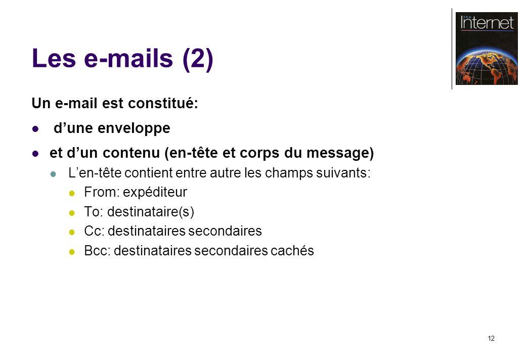 12 Les e-mails (2) Un e-mail est constitué: dune enveloppe et dun contenu (en-tête et corps du message) Len-tête contient entre autre les champs suivants: From: expéditeur To: destinataire(s) Cc: destinataires secondaires Bcc: destinataires secondaires cachés