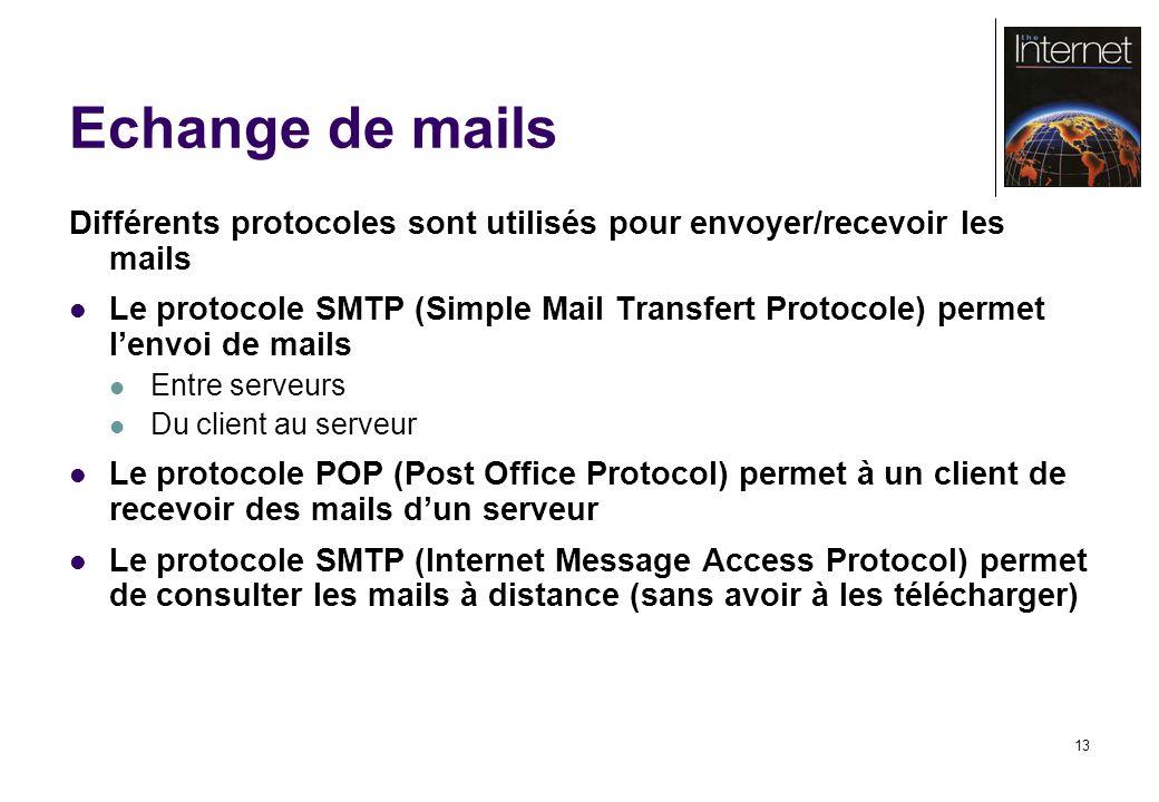 13 Echange de mails Différents protocoles sont utilisés pour envoyer/recevoir les mails Le protocole SMTP (Simple Mail Transfert Protocole) permet lenvoi de mails Entre serveurs Du client au serveur Le protocole POP (Post Office Protocol) permet à un client de recevoir des mails dun serveur Le protocole SMTP (Internet Message Access Protocol) permet de consulter les mails à distance (sans avoir à les télécharger)