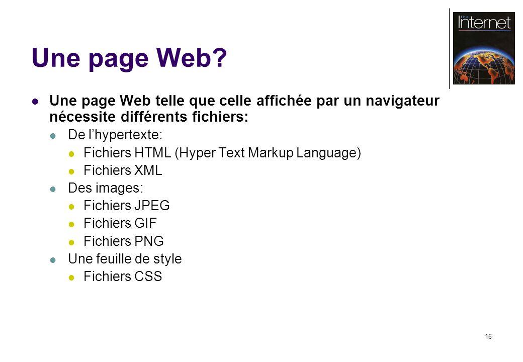 16 Une page Web? Une page Web telle que celle affichée par un navigateur nécessite différents fichiers: De lhypertexte: Fichiers HTML (Hyper Text Mark