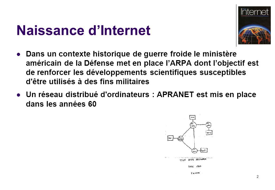 2 Naissance dInternet Dans un contexte historique de guerre froide le ministère américain de la Défense met en place lARPA dont lobjectif est de renfo