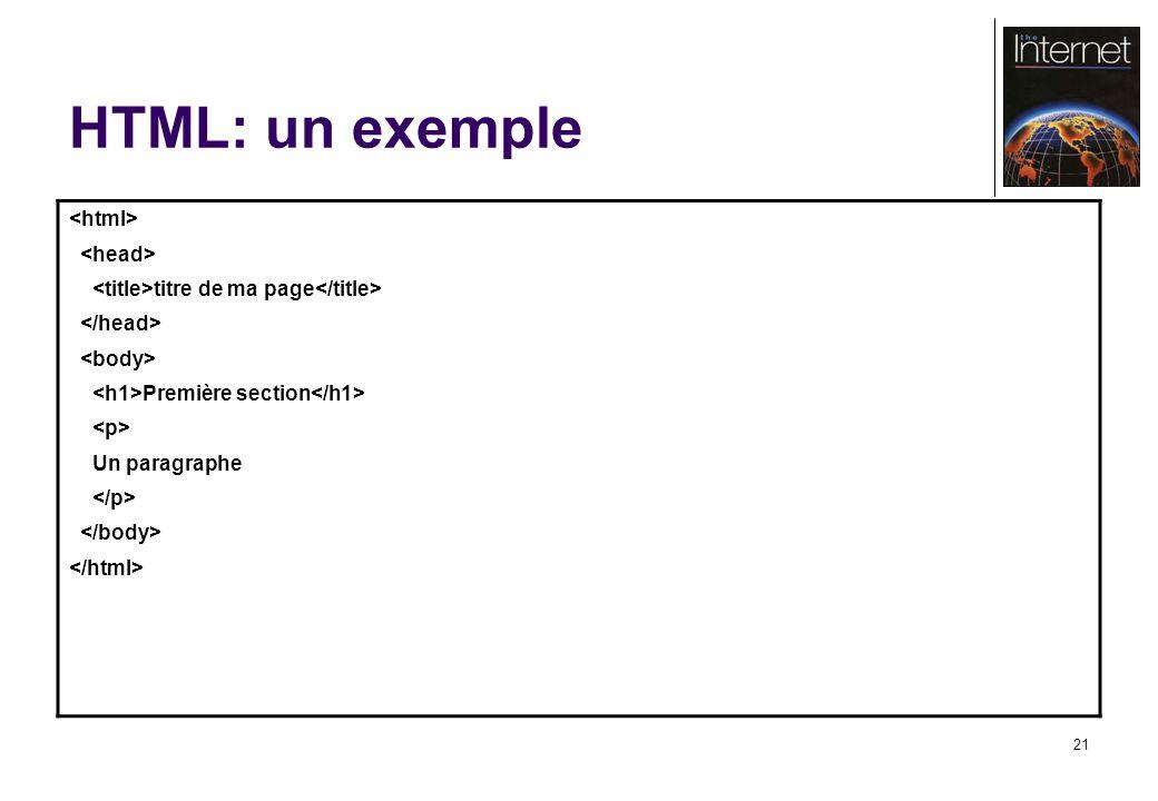 21 HTML: un exemple titre de ma page Première section Un paragraphe