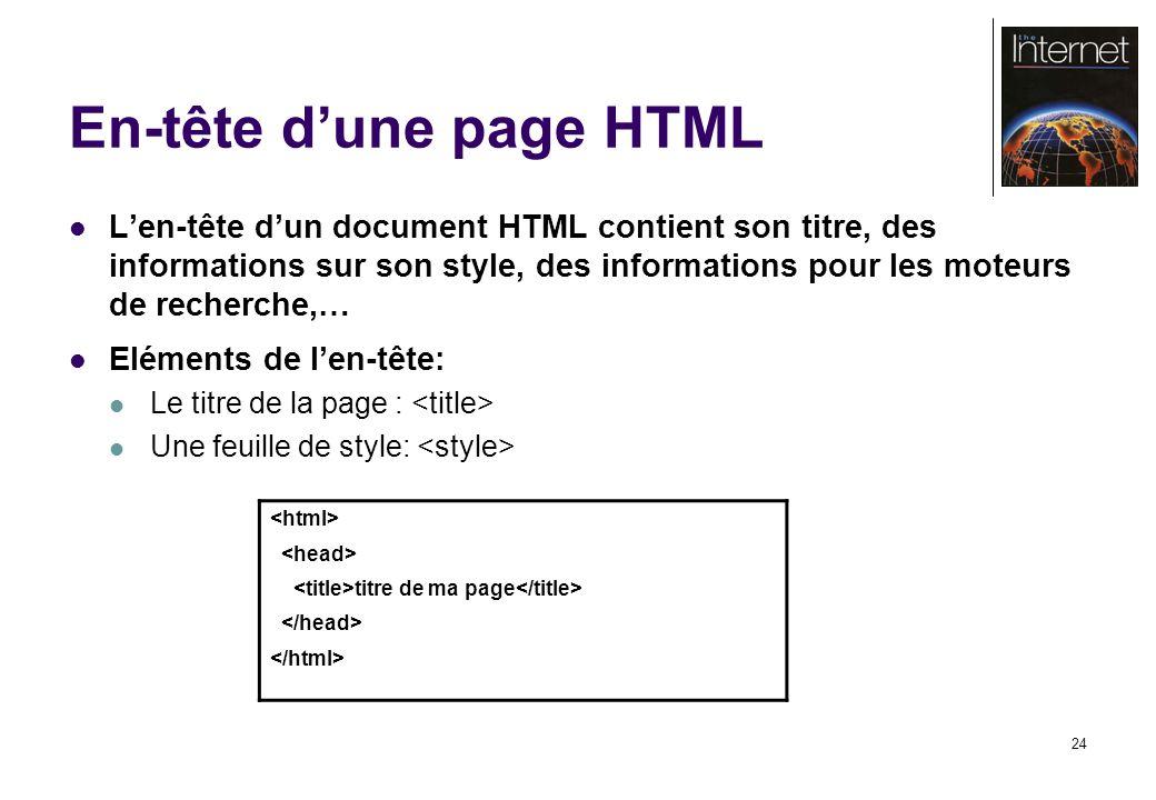 24 En-tête dune page HTML Len-tête dun document HTML contient son titre, des informations sur son style, des informations pour les moteurs de recherche,… Eléments de len-tête: Le titre de la page : Une feuille de style: titre de ma page
