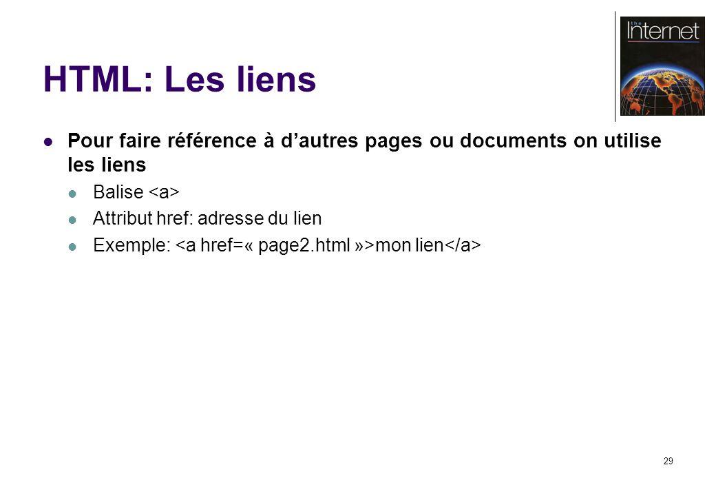 29 HTML: Les liens Pour faire référence à dautres pages ou documents on utilise les liens Balise Attribut href: adresse du lien Exemple: mon lien
