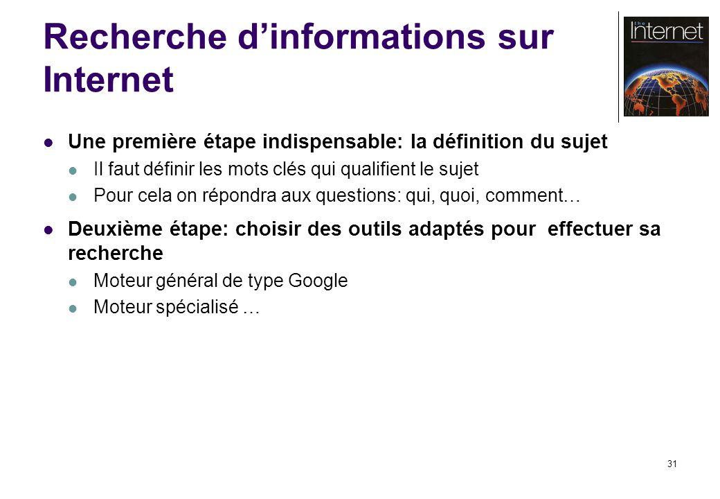 31 Recherche dinformations sur Internet Une première étape indispensable: la définition du sujet Il faut définir les mots clés qui qualifient le sujet