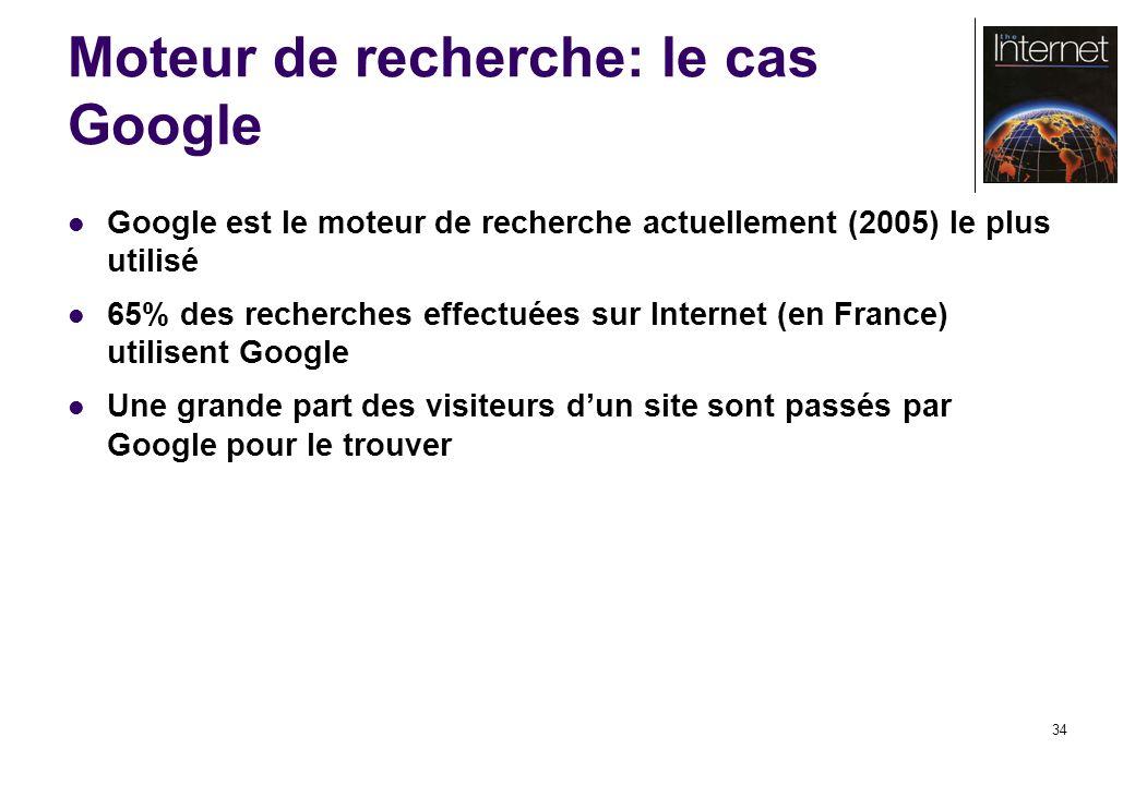 34 Moteur de recherche: le cas Google Google est le moteur de recherche actuellement (2005) le plus utilisé 65% des recherches effectuées sur Internet (en France) utilisent Google Une grande part des visiteurs dun site sont passés par Google pour le trouver