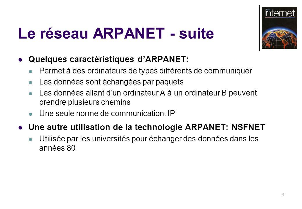 4 Le réseau ARPANET - suite Quelques caractéristiques dARPANET: Permet à des ordinateurs de types différents de communiquer Les données sont échangées