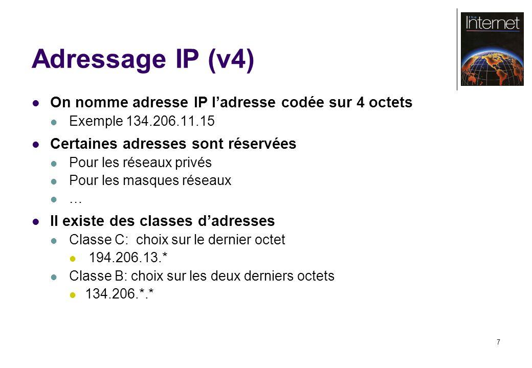 7 Adressage IP (v4) On nomme adresse IP ladresse codée sur 4 octets Exemple 134.206.11.15 Certaines adresses sont réservées Pour les réseaux privés Po