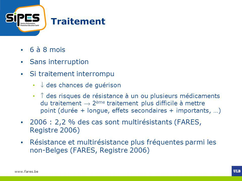 www.fares.be Traitement 6 à 8 mois Sans interruption Si traitement interrompu des chances de guérison des risques de résistance à un ou plusieurs médi
