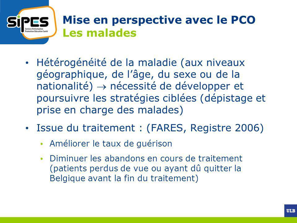 Mise en perspective avec le PCO Les malades Hétérogénéité de la maladie (aux niveaux géographique, de lâge, du sexe ou de la nationalité) nécessité de