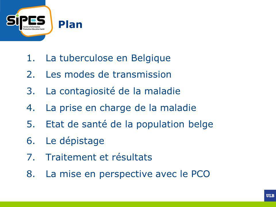 Plan 1.La tuberculose en Belgique 2.Les modes de transmission 3.La contagiosité de la maladie 4.La prise en charge de la maladie 5.Etat de santé de la