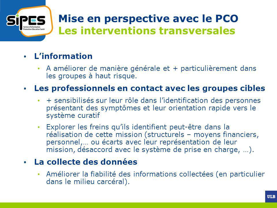 Mise en perspective avec le PCO Les interventions transversales Linformation A améliorer de manière générale et + particulièrement dans les groupes à