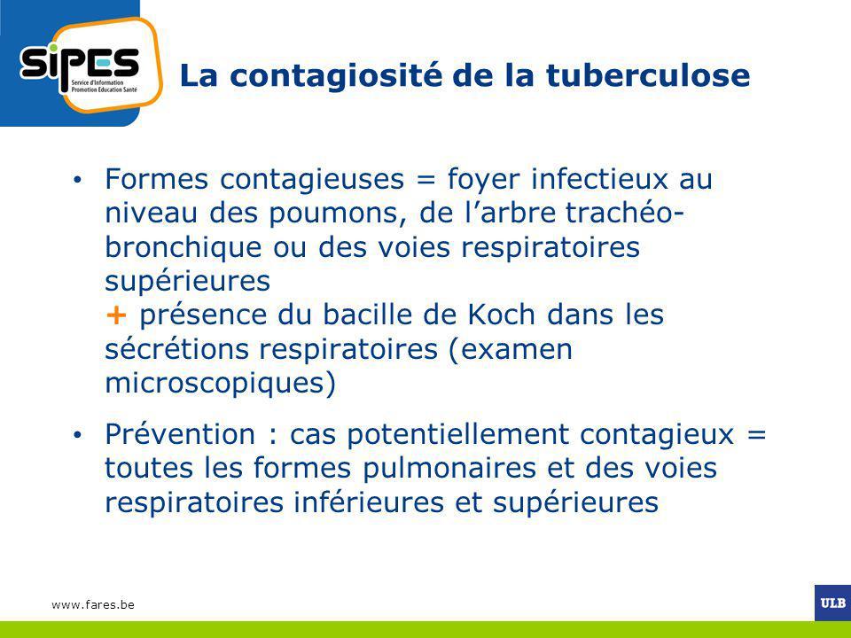 La contagiosité de la tuberculose Formes contagieuses = foyer infectieux au niveau des poumons, de larbre trachéo- bronchique ou des voies respiratoir