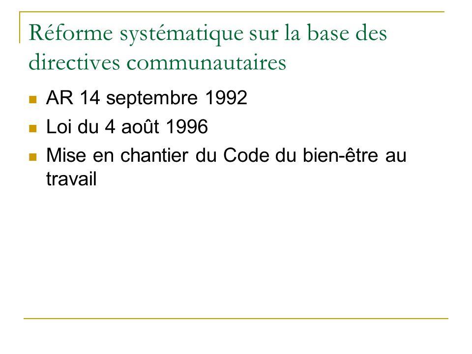 Réforme systématique sur la base des directives communautaires AR 14 septembre 1992 Loi du 4 août 1996 Mise en chantier du Code du bien-être au travai