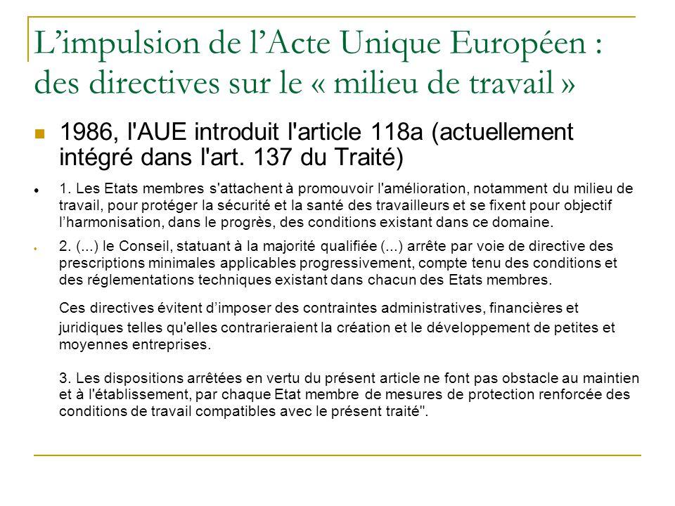 Limpulsion de lActe Unique Européen : des directives sur le « milieu de travail » 1986, l'AUE introduit l'article 118a (actuellement intégré dans l'ar