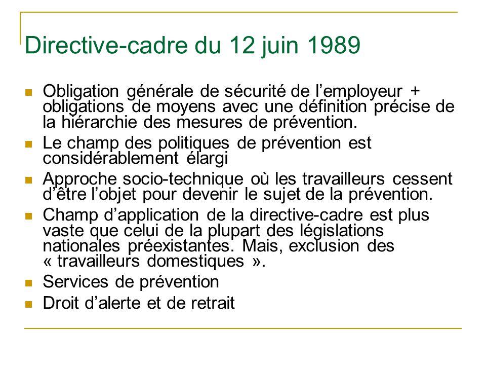 Directive-cadre du 12 juin 1989 Obligation générale de sécurité de lemployeur + obligations de moyens avec une définition précise de la hiérarchie des