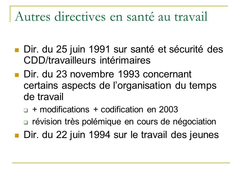 Autres directives en santé au travail Dir. du 25 juin 1991 sur santé et sécurité des CDD/travailleurs intérimaires Dir. du 23 novembre 1993 concernant