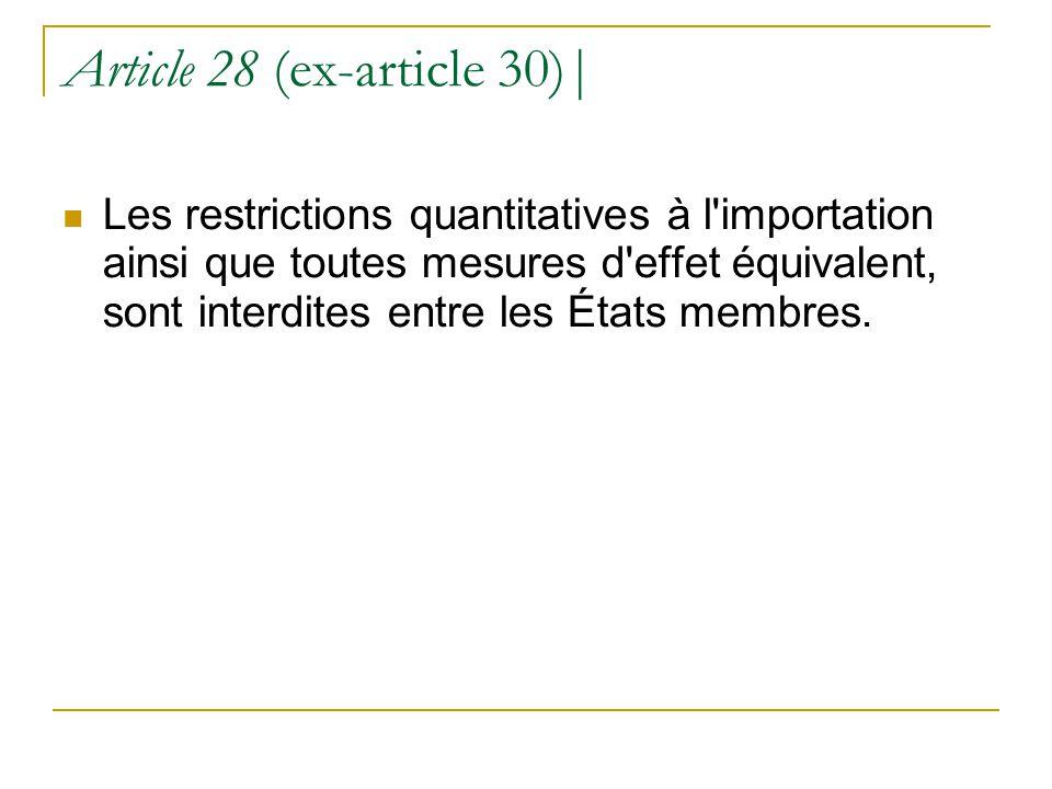Article 28 (ex-article 30)| Les restrictions quantitatives à l'importation ainsi que toutes mesures d'effet équivalent, sont interdites entre les État