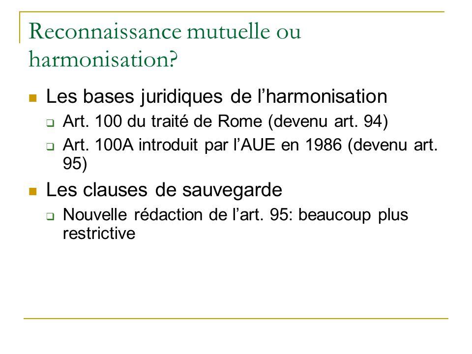Reconnaissance mutuelle ou harmonisation? Les bases juridiques de lharmonisation Art. 100 du traité de Rome (devenu art. 94) Art. 100A introduit par l